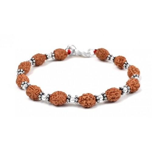 3 mukhi Mahajwala bracelet from Java with silver balls and chakri - 10mm