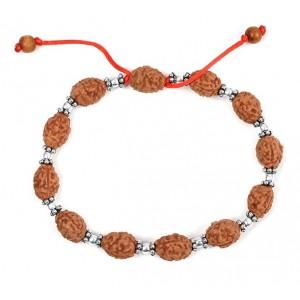3 mukhi Mahajwala bracelet from Java with silver balls and chakri - 13mm