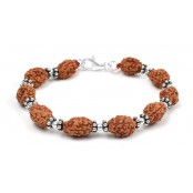 3 mukhi Mahajwala bracelet from Java with silver balls and chakri - 14mm