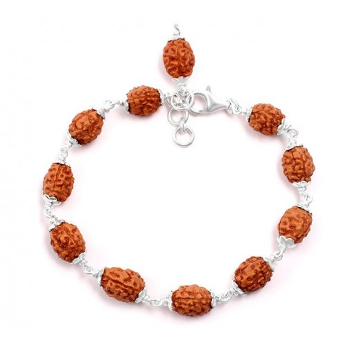 3 mukhi Mahajwala bracelet from Java with silver caps - 13mm