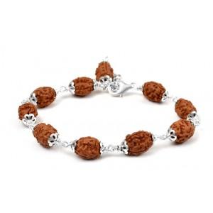 3 mukhi Mahajwala bracelet from Java with silver caps - 14mm
