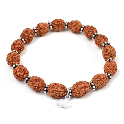 3 mukhi Mahajwala bracelet from Java with silver chakri - 14mm