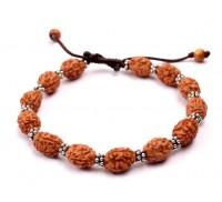 3 mukhi Mahajwala bracelet from Java with silver chakri in thread - 13mm