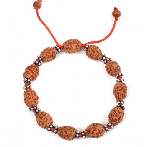 3 mukhi Mahajwala bracelet from Java with silver chakri in thread - 14mm