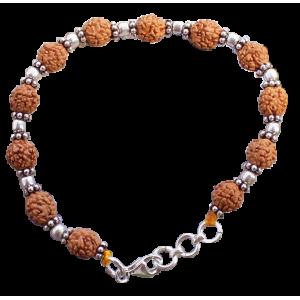 4 Mukhi Brahma Bracelet - Java in silver spacers