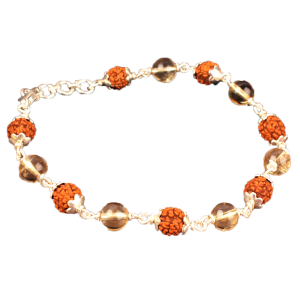 4 Mukhi Java Bracelet with Citrine Beads in Flower Capping