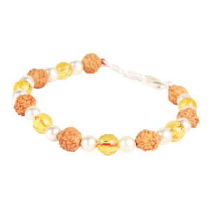 4 mukhi Java Bracelet with Citrine beads in silver balls