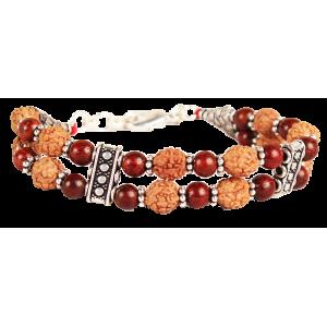 4 mukhi Java Double turn Bracelet with Red Sandalwood beads