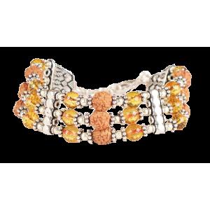 4 mukhi Java Triple Turn Bracelet with Citrine beads