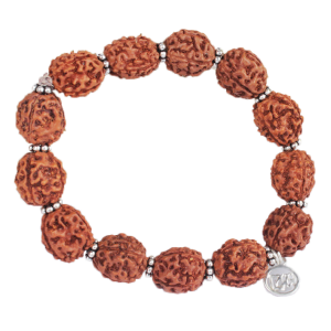 Large 4 mukhi Brahma bracelet in silver spacers
