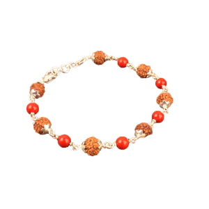 6 Mukhi with Coral Bracelet in Silver Capping