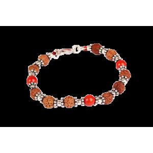 6 Mukhi Java Bracelet with Coral in Silver Chakri