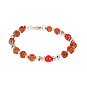 6 mukhi Java Bracelet with Coral and Sphatik