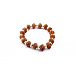 7 mukhi Goddess Laxmi  bracelet from Java with silver balls- 10 mm