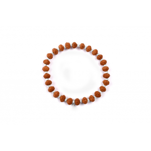 7 mukhi Goddess Laxmi  bracelet from Java with silver balls- 7 mm