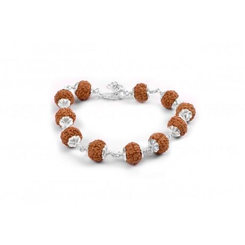 7 Mukhi Rudraksha Goddess Laxmi  Bracelet Java Silver Flower Capping - 12mm