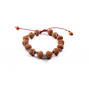 7 Mukhi Goddess Laxmi  Bracelet from Java with Silver Chakri in Thread 10 mm