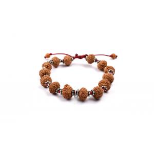 7 mukhi Goddess Laxmi  bracelet from Java with silver chakri in thread 12 mm