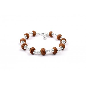 9 Mukhi Durga Shakti Bracelet from Java with Silver Capping 10 mm