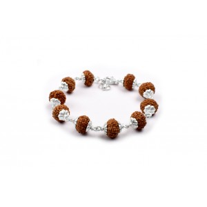 9 Mukhi Durga Shakti Bracelet from Java with Silver Capping 12 mm