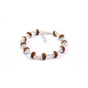 9 Mukhi Durga Shakti Bracelet from Java with Silver Capping 8 mm