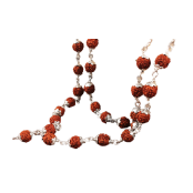 Rudraksha Mala in Silver Capping 7mm