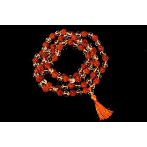 5 Mukhi Rudraksha Mala with Sphatik 108 beads in Thread 6mm